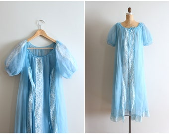 30% SALE // powder blue 1960s chiffon peignoir set - vintage 60s sheer robe & night gown / fairy kei dress - pastel kawaii / vintage chiffon