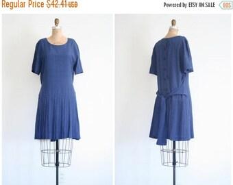 SALE / drop waist 80s summer dress - drop pleated skirt / Polka Dot - navy blue dress / School Girl - vintage 80s dress