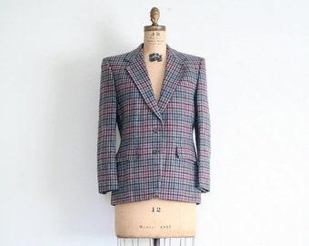 SALE / Aquascutum wool plaid ladies blazer - 1970s preppy jacket / English Punk - vintage 70s blazer / England - traditional check