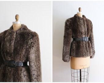 vintage 70s Jordache faux fur coat - brown spotted faux fur jacket / 80s fur coat - boho fur coat / 70s disco coat - satin & faux leather