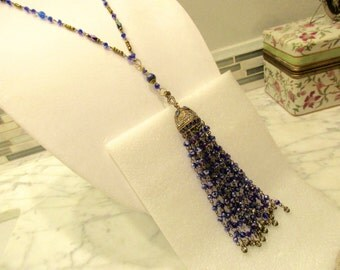 Lavish SAPPHIRE TASSEL Necklace w/Luxe Filigree, Sapphire, Antique Gold & Crystal Bead Cap on SAPPHIRE Crystal/Brass Rosary Chain