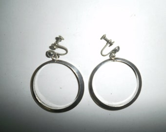 Vintage Sterling Silver 925 Taxco Mexico hoop earrings with screw back