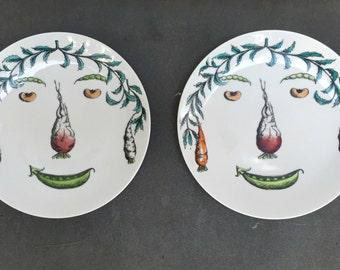 Piero Fornasetti Style Verdure Plates, Pair