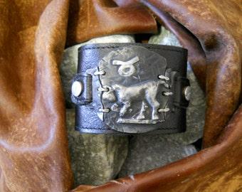 Taurus Mens leather wristband / cuff / bracelet