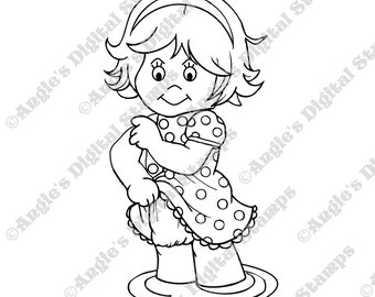 Daisy May Playing In Water Digital Stamp Image