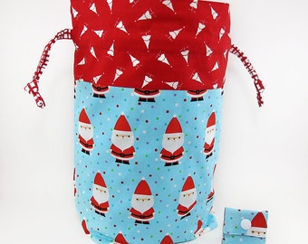 "New! ""Here Comes Santa Claus"" Large Drawstring Project Bag"