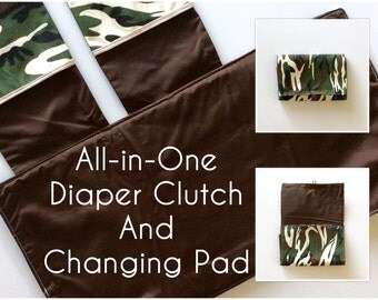 MADE TO ORDER All-in-One Diaper Clutch and Changing Pad, Camo Print/Brown diaper clutch and changing pad