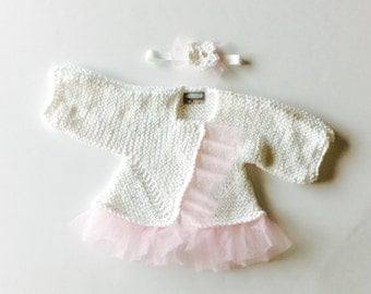 MADE TO ORDER Ruffled Baby Cardigan and headband set, White and Pink, Double snap closure, custom sizes
