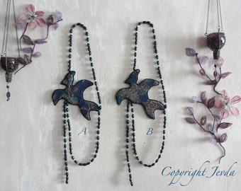 Bird Necklace, art to wear, statement necklace, fabric necklace, textile art, beaded necklace, wearable art, art jewelry, blue necklace