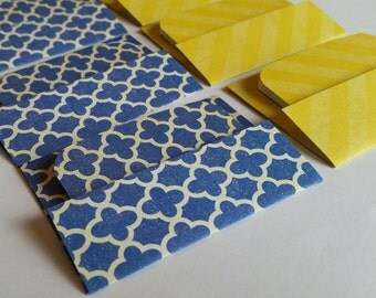 NEW - Mini Cards n Envelopes - Set of 8 - Navy Blue Scalloped Designs with Bright Sunshine Yellow