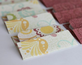 NEW - Mini Cards n Envelopes - Set of 8 - Vintage Feel with Pastel Flowers and Maroon Red Swirl Designs