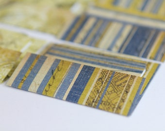 NEW - Mini Cards n Envelopes - Set of 8 - Nautical Designs wtih Blue and Gold Stripes