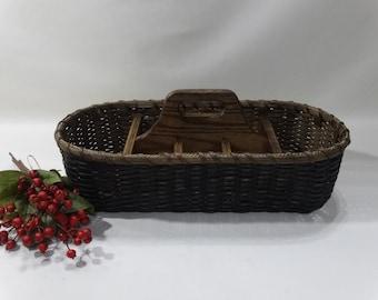 Silverware-Paper Plate Basket / Divided Carrier Basket / Organizer Basket / Handwoven Basket-Primitive Style