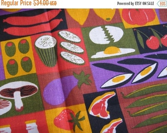 25%SALE Foodie. Vtg Ulster linen kitchen towel, never used, excellent condition, with original tag.
