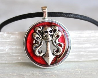 red skull necklace, skull jewelry, halloween costume, halloween jewelry, sword necklace, halloween necklace, flaming sword, cosplay
