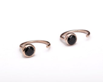 Dainty Black Spinel Hug Hoops, Sterling Silver & Gold Plated, Gemstone Hug Earrings, Open Hoops, Minimalist Jewelry, Hand Made, Gift, EAR039