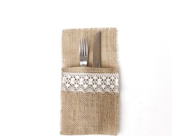 Burlap Utensil Pockets - Silverware Pockets Adorned With Lace - Holiday Essentials - Gift Idea