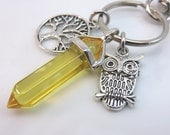 Citrine keychain - yellow gemstone keyring - owl keychain - owl bag charm - tree of life keychain - point crystal silver with swivel clasp