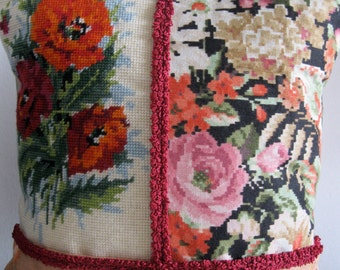 Tapestry Statement Cushion Pillow Patchworked with Vintage Fabric Poppies