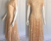 Stunning Vintage Peach Lace High Neck Nicole Miller long Dress - Circa 1980s