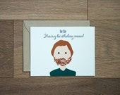 happy birthday hairy many card - hairy man birthday - illustration - man style - beard - he style - rugged