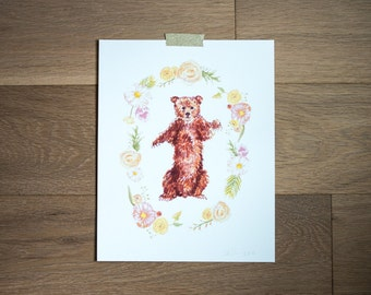 Baby bear print - fine art print - animal illustration - woodland - floral frame - hand painted - flowers