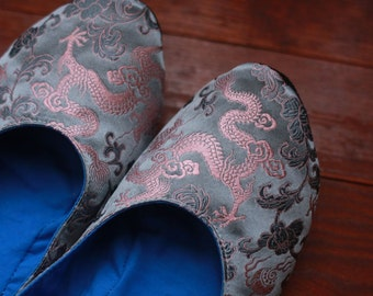 US 8.5 / Euro 38.5 / UK 7, Slate Blue Silk Slippers