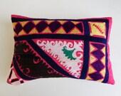 Pink Suzani Pillow Cover - Silk Uzbek Tribal Boho Pillow - Bohemian Accent Pillow