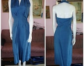 30% Off Sale 1950's  BLUE Silk Halter Wiggle Dress And Matching Jacket Pointed Cuffs Suit Rhinestones Glam Bombshell Pin Up Cocktail VLV