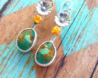 Baltic Amber and Turquoise Earrings. Royston Turquoise and Baltic Amber Sterling Silver Dangle Earrings.
