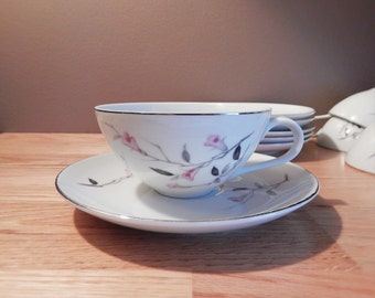 Vintage Cherry Blossom Fine China Tea Cup and Saucer Set of Six
