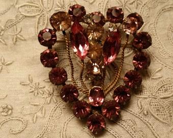 ELEGANT Heart Pin w. Prong Set Lilac & Pink Rhinestones VINTAGE