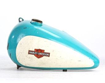Vintage Harley Davidson Motorcycle Gas Tank, Vintage Turquoise And White Harley Davidson Motorcycle Gas Tank, Vintage Harley Davidson