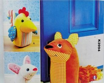 Door Stop Pattern - Novelty Doorstop Pattern - Kwik Sew K3994 - Chicken Doorstop - Mouse Doorstop - Fox Doorstop