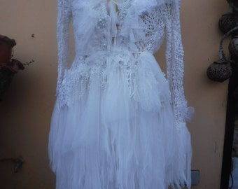 "20%OFF gothic bohemian boho lagenlook jacket gypsy wedding crochet jacket....work of art!! medium to 46"" bust....40'' across laying flat"