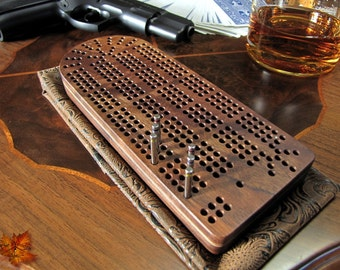Cribbage Board-Exquisite Fancy Black Walnut with Stainless Steel Cribbage Pegs