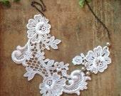 bridal lace collar necklace -ALISHA - softest ivory - blush - pearls - wedding - bridal
