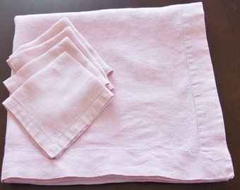 Vintage Pink Linen TABLECLOTH  58 x 61 inches & 4 Napkins