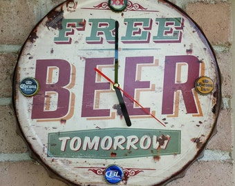 Rustic style Bottle Cap Clock Tin sign. Free Beer Tomorrow!  gameroom, bar,mancave.