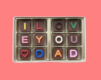 Father's Day Gift for Dad Gift Father in Law Daddy Gift from Daughter Son Gift for Daddy I Love You Dad Heart Chocolate Jelly Bean Cube