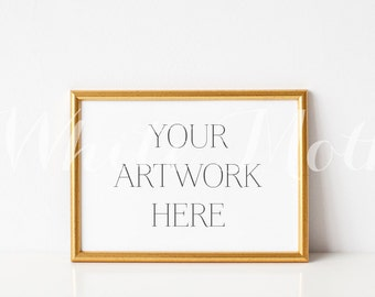 A4 Gold Frame - (Landscape)  Empty Frame, Stock Photo, Styled Photography, Mock up, prints, illustration, painting
