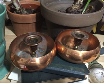 Vintage Copper Candle Holders bohemian home decor boho chic