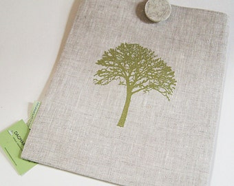 IPad cover/ Organic Natural Linen Handprinted/ Tree of Life in Green/ Wool Handmade Button/Ready To Ship