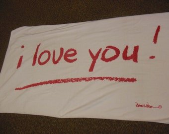 I Love You ! Beach Towel, White with Red Print, All Cotton