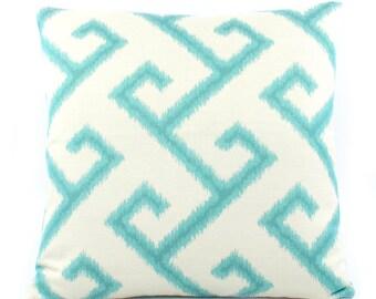 Sunbrella Greek Key Outdoor Pillow Cover 20x20, Turquoise Outdoor Cushion Cover, Blue Outdoor Pillow, Sunbrella Pillows, Pacific Coast