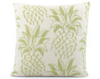 "Pineapple Accent Pillow Cover 18x18"" Green, Pineapple Home Accent, Pineapple Cushion, Beach House Decor, Beach Wedding, Tropical Fruit"