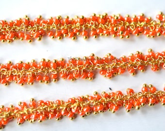 Unique Delicate Gold Vermeil Seed Bead Chain - 1 Foot