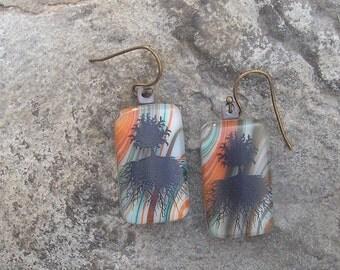 Tree of Life Earrings Fused Glass Earthy Tree Earrings