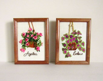 1975 Set of Azalea and Coleus Stitched 6x8 Wall Art