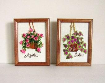 1975 Set of Azalea and Coleus Stitched 6x8 Wall Art